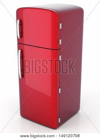 A classic red Fridge. A 3D rendered Illustration.