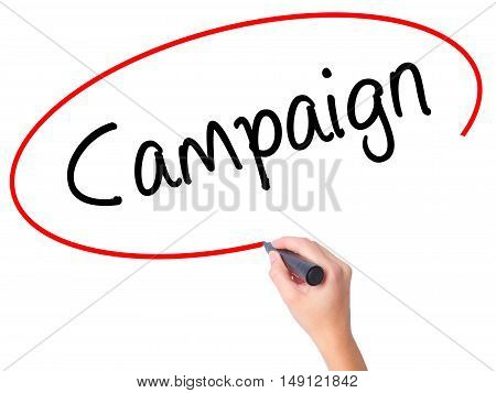 Women Hand Writing Campaign With Black Marker On Visual Screen
