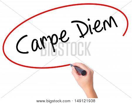 Women Hand Writing Carpe Diem With Black Marker On Visual Screen