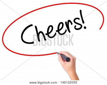 Women Hand Writing Cheers! With Black Marker On Visual Screen