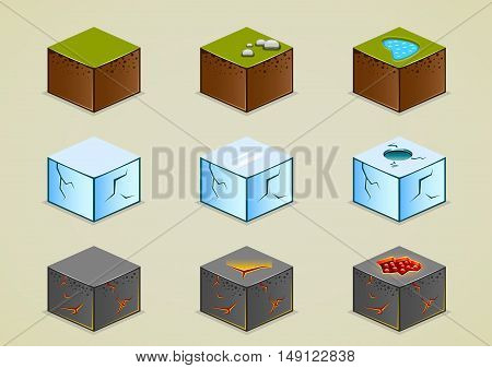 Set of nine isolated isometric grounds for creating video game