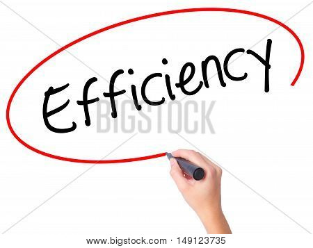 Women Hand Writing Efficiency With Black Marker On Visual Screen.