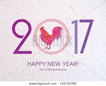 Red Rooster. New Year Greeting Card with Symbol of 2017 on the Chinese Calendar. Fire Cock with Abstract Pattern. Vector.