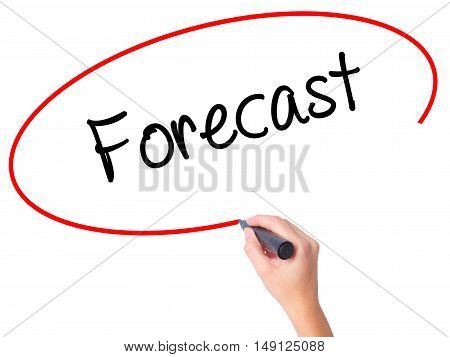 Women Hand Writing Forecast With Black Marker On Visual Screen