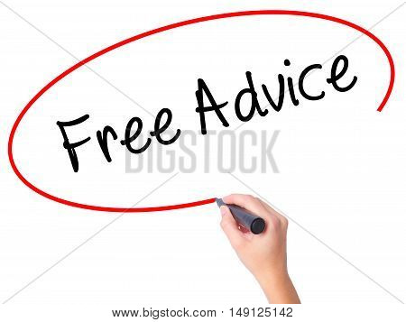 Women Hand Writing Free Advice With Black Marker On Visual Screen