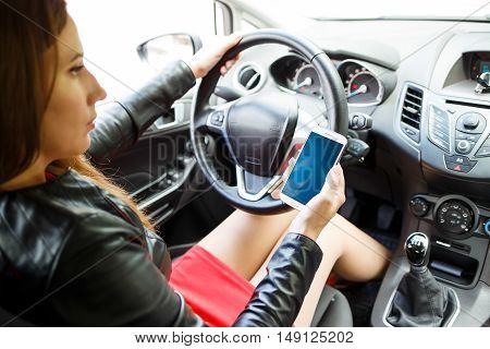 Business Woman In Red Dress Sitting In Car