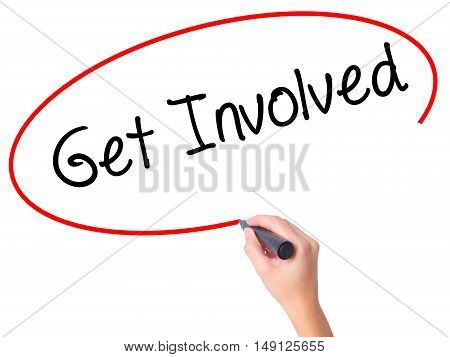 Women Hand Writing Get Involved With Black Marker On Visual Screen