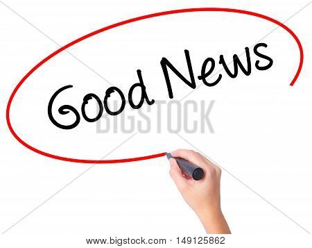 Women Hand Writing Good News With Black Marker On Visual Screen