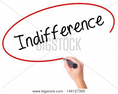 Women Hand Writing Indifference  With Black Marker On Visual Screen