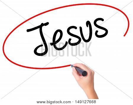 Women Hand Writing Jesus  With Black Marker On Visual Screen