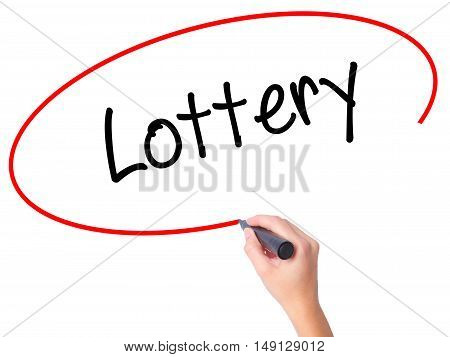 Women Hand Writing Lottery  With Black Marker On Visual Screen
