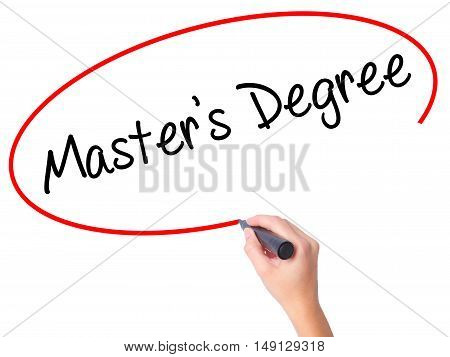 Women Hand Writing Master's Degree With Black Marker On Visual Screen.
