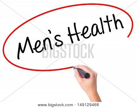 Women Hand Writing Men's Health With Black Marker On Visual Screen