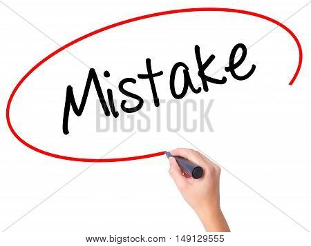 Women Hand Writing Mistake With Black Marker On Visual Screen