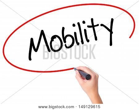 Women Hand Writing Mobility With Black Marker On Visual Screen