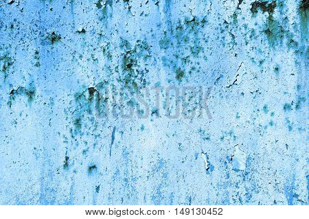 Old Painted Blue Rusty Wall Detailed Texture