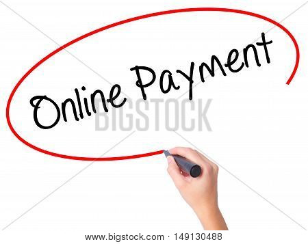 Women Hand Writing Online Payment With Black Marker On Visual Screen.