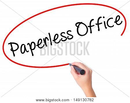 Women Hand Writing Paperless Office  With Black Marker On Visual Screen