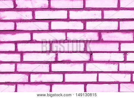 Pink Brickwork Detailed Texture Background - Stock Photo