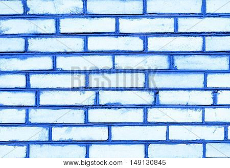 Blue Brickwork Detailed Texture Background - Stock Photo
