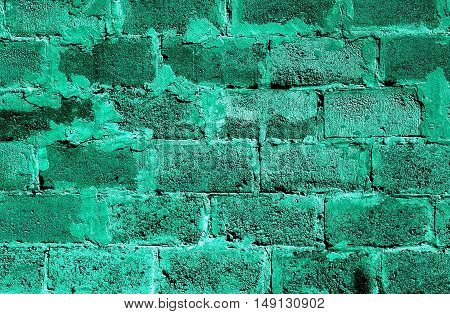 Turquoise Brickwork Detailed Texture Background - Stock Photo