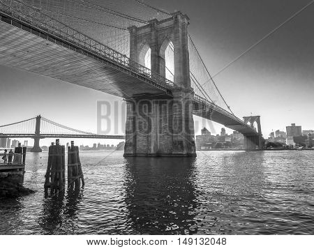 Brooklyn Bridge is a hybrid cable-stayed/suspension bridge in New York City