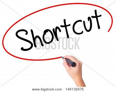Women Hand Writing Shortcut With Black Marker On Visual Screen