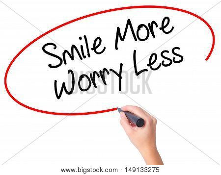 Women Hand Writing Smile More Worry Less With Black Marker On Visual Screen