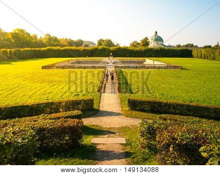 Kromeriz Flower Garden in french style with green lawns and fountain, UNESCO World Cultural and Natural Heritage, Kromeriz, Moravia, Czech Republic