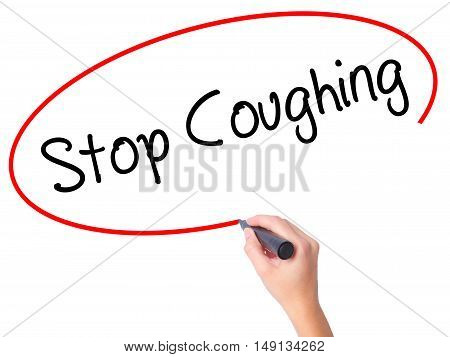 Women Hand Writing Stop Coughing With Black Marker On Visual Screen
