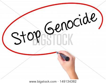 Women Hand Writing Stop Genocide With Black Marker On Visual Screen.