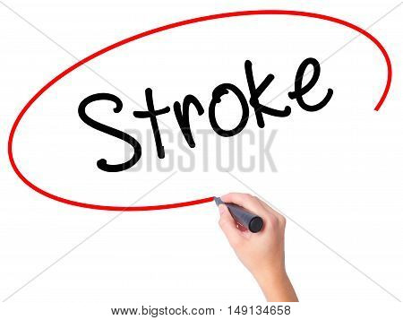 Women Hand Writing Stroke With Black Marker On Visual Screen