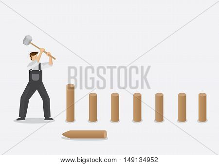 Cartoon builder swinging a post maul to drive pointed wood fence posts into the ground. Vector illustration isolated on plain background.