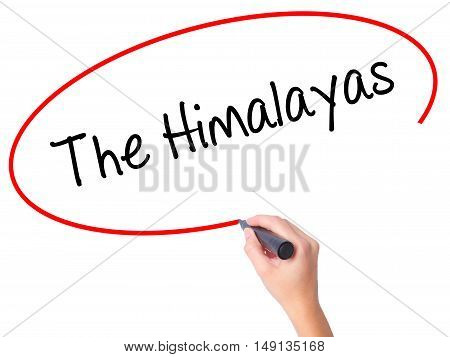 Women Hand Writing The Himalayas With Black Marker On Visual Screen