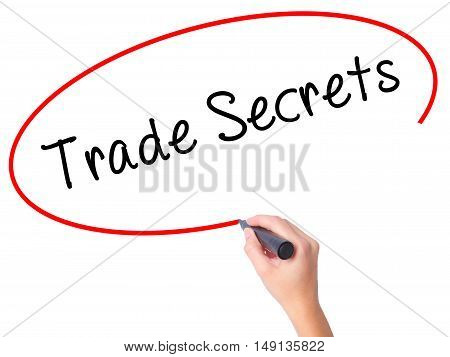 Women Hand Writing Trade Secrets With Black Marker On Visual Screen