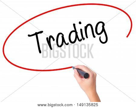 Women Hand Writing Trading  With Black Marker On Visual Screen