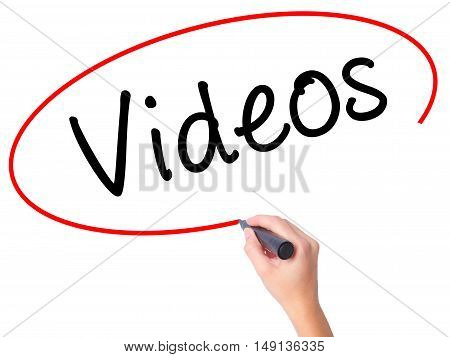 Women Hand Writing Videos With Black Marker On Visual Screen