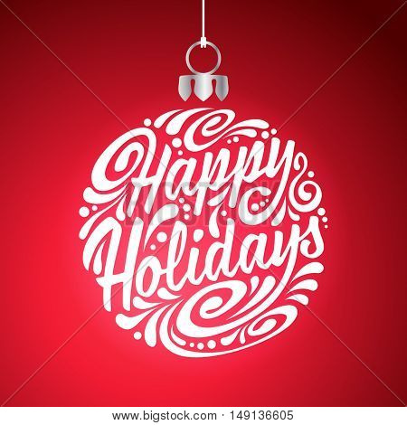 Holidays greeting card with abstract doodle Christmas ball. Vector eps10 illustration. Happy Holidays
