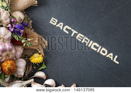 Composition of fresh garlic on a stone countertop with the inscription
