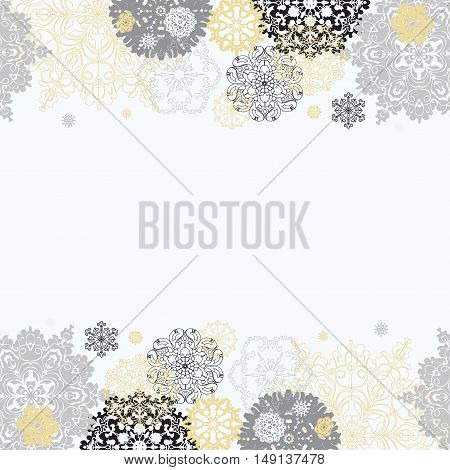 Winter silver abstract design with gold and white snowflakes and stars and white background. Trend golden design. Horizontal top and bottom border and text place. Golden silver vintage vector illustration.