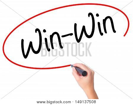 Women Hand Writing Win-win With Black Marker On Visual Screen.