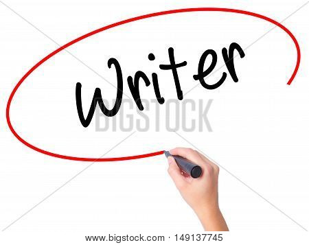 Women Hand Writing Writer With Black Marker On Visual Screen