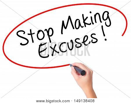 Women Hand Writing Stop Making Excuses With Black Marker On Visual Screen