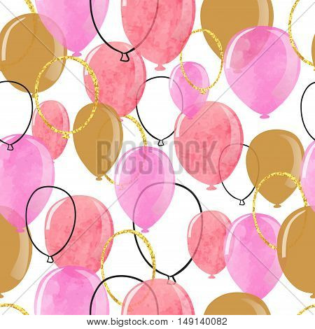 Watercolor pink and glittering gold balloons seamless pattern. Vector celebration background.