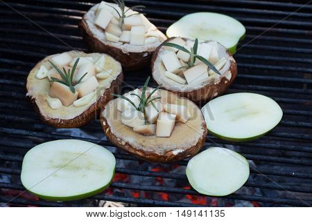 Scamorza Filled Porcini And Green Apple Slices