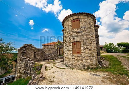 Old town of Hum stone architecture view Istria Croatia