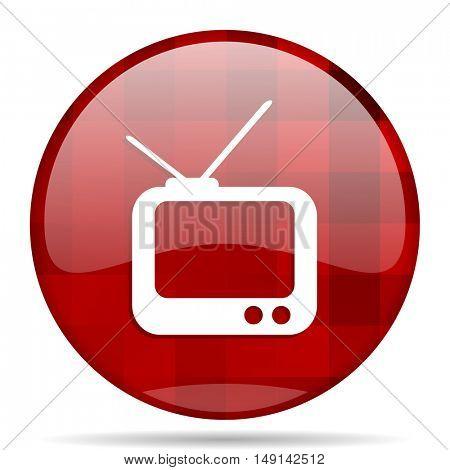 tv red round glossy modern design web icon