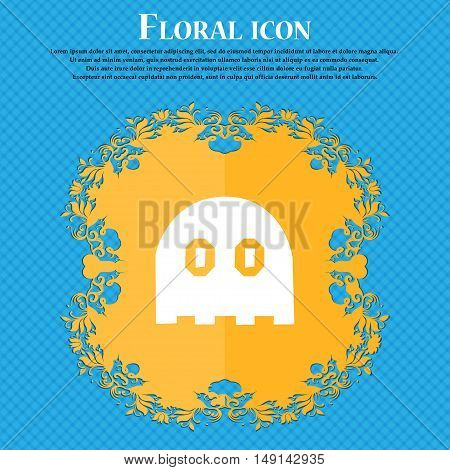 Ghost Icon Sign. Floral Flat Design On A Blue Abstract Background With Place For Your Text. Vector