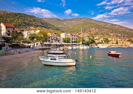 Town of Bol waterfront view Island of Brac Dalmatia Croatia