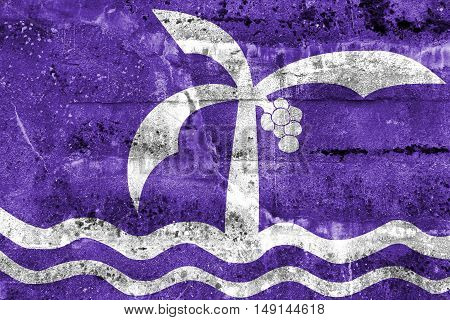 Flag Of Macae, Brazil, Painted On Dirty Wall